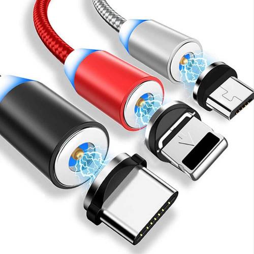 Кабель магнитный ZIBELINO DC Magnetic с подсветкой (тканевая оплетка) USB-microUSB (Red)